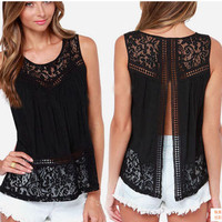 Women's Clothing Tops & Tees Tanks & Camis Fashion Women Summer Vest Top Sleeveless Casual Hollow Out Lace  Tank Tops