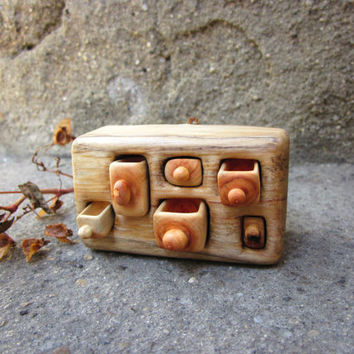 Miniature village shelf, wood carving, Wall decoration, wall drawer, Rustic home decoration, Wood sculpture, Wall art