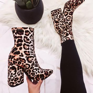 BIG ROAR LEOPARD SOCK BOOTIE