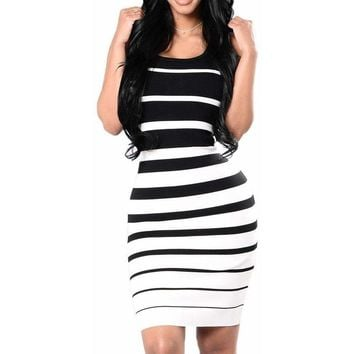 Plus Size Women KNEE LENGTH Dress Summer Style Ladies Beach Striped Dress Boho Sleeveless Casual