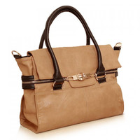 Retro Style Beige Color Matching and Zipper Design Women's Tote Bag