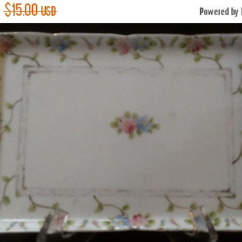 Christmas Sale Nippon Porcelain Floral Tray (567)