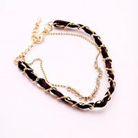 Simply Chained Bracelet - Black/Gold