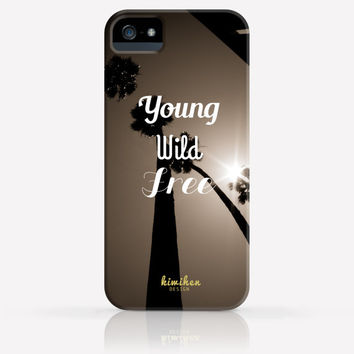 Young Wild Free Palm Tree Summer iPhone 4 Case, iPhone 4s Case, iPhone 5 Case, iPhone 5s Case, iPhone Hard Plastic Case