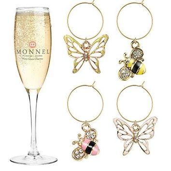 P416 Cute Crystal Pink White Bee and Butterfly Wine Charms Glass Marker for Party with Velvet Bag Set of 4