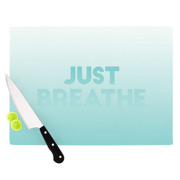 "KESS Original ""Just Breathe"" Blue Teal Cutting Board"