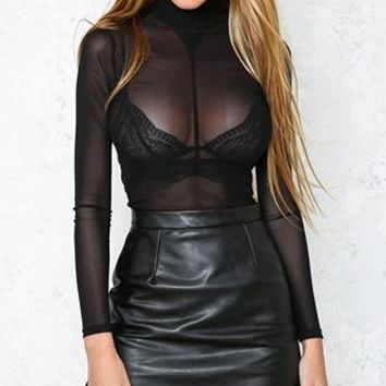 Vision Quest Black Long Sleeve Sheer Mesh Mock Neck Bodysuit Top