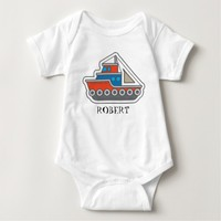 Cute Personalized Red Blue Gray Tugboat Baby Infant Creeper