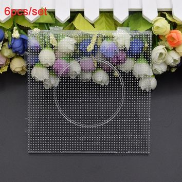 6pcs/set 2.6mm Hama Beads Pegboard Square Shape and Circle/Hexagon Puzzle Template Perler Beads Creative Educational Toys