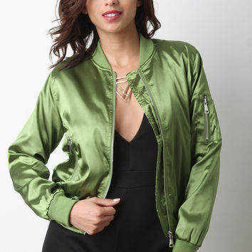 Glossy Charmeuse Zipper Bomber Jacket