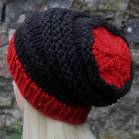 Hand Knit Hat- OceanShell Hat -Women's hat- slouchy -beanie hat- black and red- winter hat