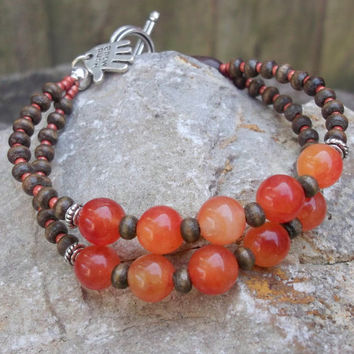 Morganite Boho chic handmade wooden bracelet for women, Fashionable stylish stone jewelry for any outfit