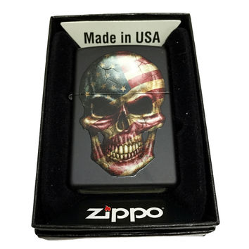 Zippo Custom Lighter - American Flag on Skull - Regular Black Matte 218CI400285