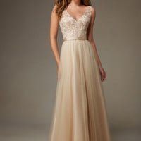 Mori Lee Bridesmaids 134 Floor Length Tulle & Beaded Embroidery Dress