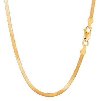 14k Yellow Solid Gold Imperial Herringbone Chain Necklace, 4.0mm