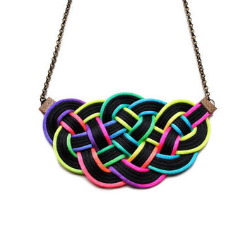 Big knot necklace, nautical style, neon, ombre, gradient, rainbow, colourful, satin cords, rope jewelry, spring, summer 2013, gift for her