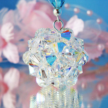 Crystal Ball Rear View Mirror Car Charm Swarovski Crystal Suncatcher Turquoise Blue Car Accessories