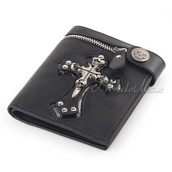 Mens Black/Brown Skull Cross Leather Wallet Purse Zip Badge Bifold Coin Cash Pocket