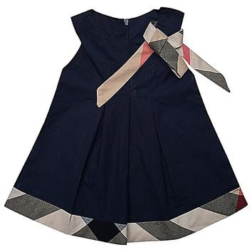 Girls' Pleated Plaid Panel Trim & Ribbon Belt Short Sleeve Trapeze Dress