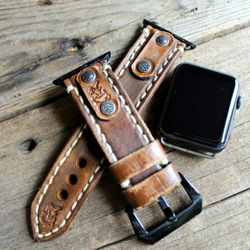 Apple watch band, Leather apple watch band, apple band 38mm, apple band 42mm, Leather strap for apple watch, Brown Apple strap