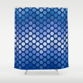 Dot Chevron: Navy Shower Curtain by Eileen Paulino