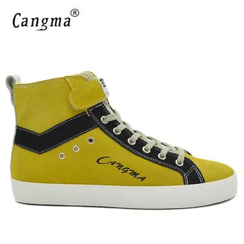 CANGMA Italian Brand Sneakers Men Boots Lace Up Man Yellow Genuine Leather Male Shoes Cow Suede Mans Handmade Shoes Ankle Boots