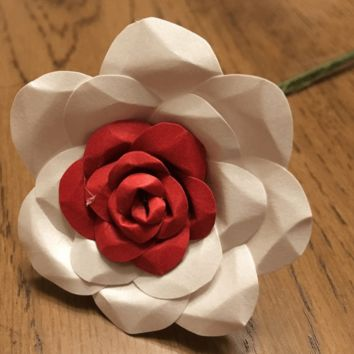 polish red and white paper flower Rose