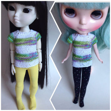 Blythe Knit Top, Makies Knit Top, Makies Knit Clothes,  Knit Blythe Clothes, Neo Blythe, Striped Knit Top, Knitted Doll Clothes