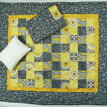 "Patchwork Doll Quilt,  3pc Doll Quilt, Baby Doll Bedding, Yellow and Grey Doll Quilt, Modern Patchwork Doll Quilt, 20"" Doll Quilt"