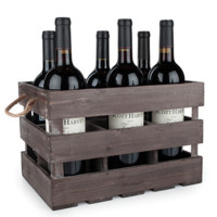 Rustic Farmhouse Wooden Crate 6-Wine Bottle Holder