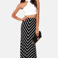 Party Lines Black and White Striped Maxi Skirt