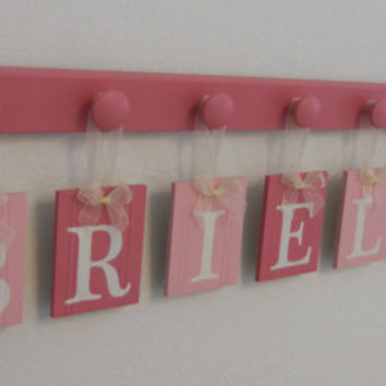 Baby Nursery - Baby Wall Letters Boutique Sign Name in Two Tone Pink - BRIELLE - 7 Wooden Pegs Pink