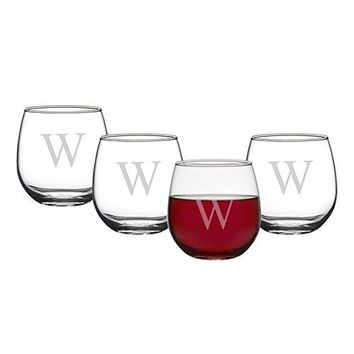Cathys Concepts Personalized 1675 oz Stemless Red Wine Glasses Set of 4 Letter Z