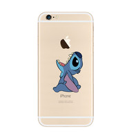 Disney Lilo & Stitch Cartoon Eat Apple iPhone 6s 6 Plus Transparent Clear Soft Case