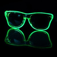 EL Wire Clear Lime Light Up Sunglasses : LED Wire Glasses and Shades from RaveReady