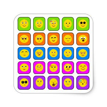 Cute Rainbow Happy Smiley Face Emoticons Pattern Square Sticker