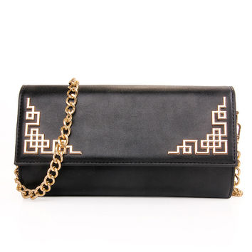 Cutout Metal Plate Embellished Clutch With Chain - Black