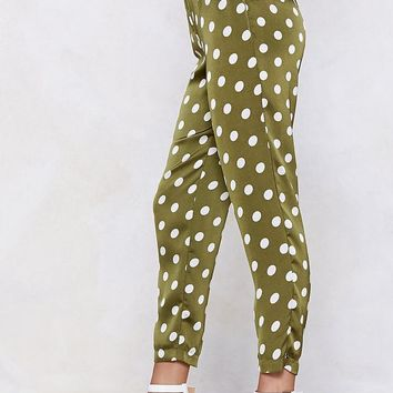 Going Somewhere Green Polka Dot Pants
