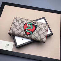GUCCI MEN'S NEW STYLE LEATHER EMBROIDERY WALLET
