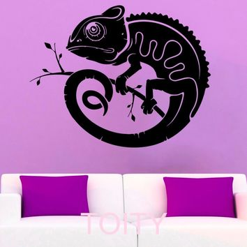 Chameleon Wall Stickers Lizard Vinyl Decals Reptile Animal Silhouette Decor Office Home  Living Room  Interior Art Murals