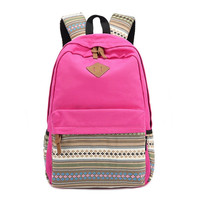 Rose Red Canvas Ethnic Style Large College Backpack Travel Bag Daypack