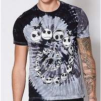 Spiral Tie Dye Jack Skellington T Shirt - The Nightmare Before Christmas - Spencer's