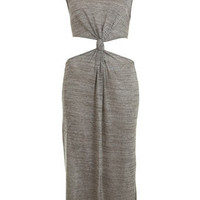Metallic Cutout Midi Dress - Dresses  - Apparel