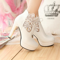 Fashion lace solid color high heels boots