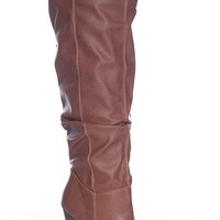 Qupid Towering Power Madge-02 Tall Ruched Knee High Faux Leather Boots - Rust