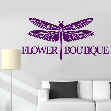 Vinyl Wall Decal Flower Boutique Logo Dragonfly Decor Stickers Unique Gift (ig4777)