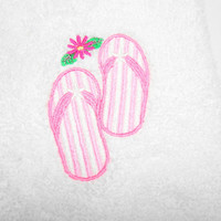 Guest Towel, Bathroom Towel, Beach Theme, Flip Flops, Hand Towels, Embroidery, Thick Plush Towels, Beach Home Decor, Lake House, Pink White