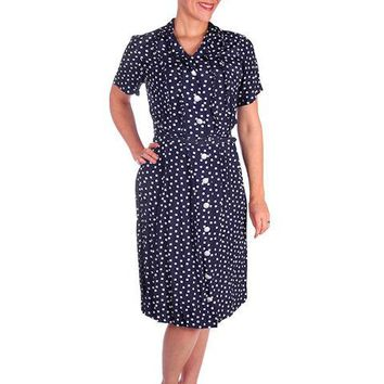 Vintage Navy Blue & White Polka Dot Dream Dress Rayon 1940s 40-27-44