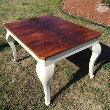 Red mahogany table with chalk painted legs