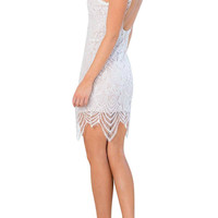 White High Neck Backless Lace Sleeveless Dress